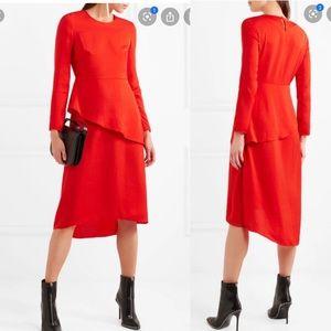 Maje Remania Ruffle Satin Crepe Asymmetric Dress